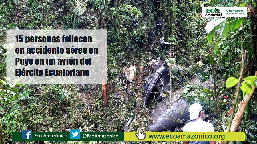 Se confirma el fallecimiento de 15 personas en accidente aéreo en Puyo