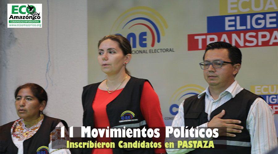 11 movimientos inscribieron candidatos en Pastaza