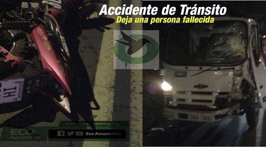 Accidente de tránsito deja a un motociclista fallecido