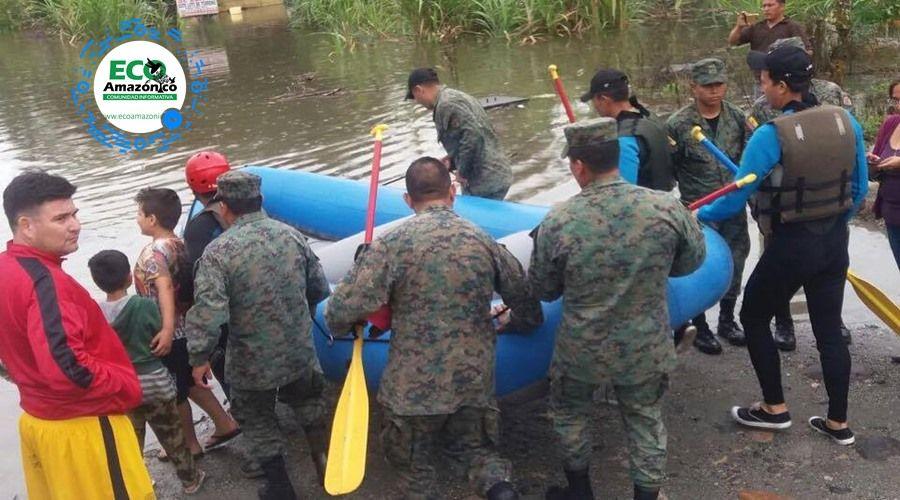 Militares brindaron apoyo en inundaciones en Puyo