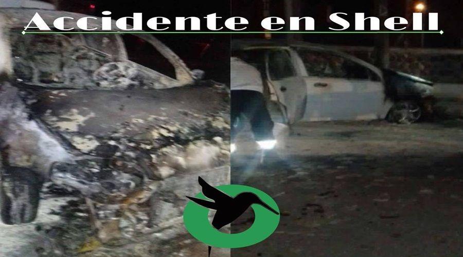 Se incendia un vehículo en Shell por accidente de tránsito