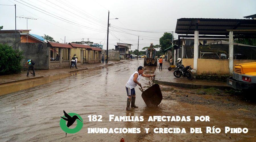 182 Familias afectadas por inundaciones y crecida del Río Pindo