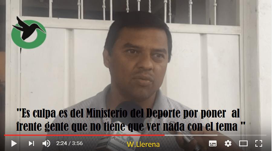 Waltter Llerene denuncia responsabilidad del Ministerio del Deporte caso FDPz