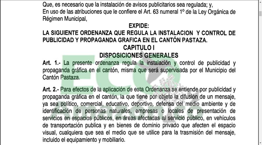 Ordenanza Municipal de control de publicidad y propaganda grafica