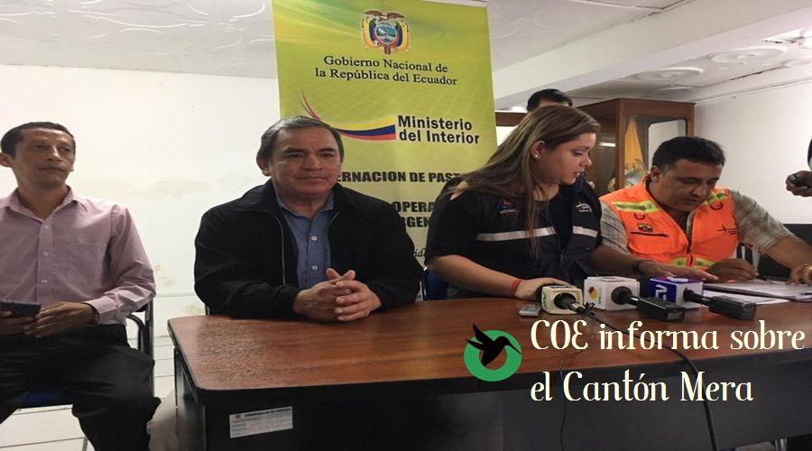 COE informa sobre la declaratoria de emergencia en el cantón Mera