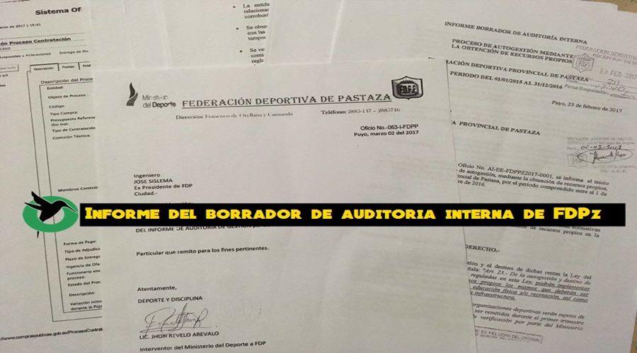 Informe del borrador de auditoria interna de FDPz