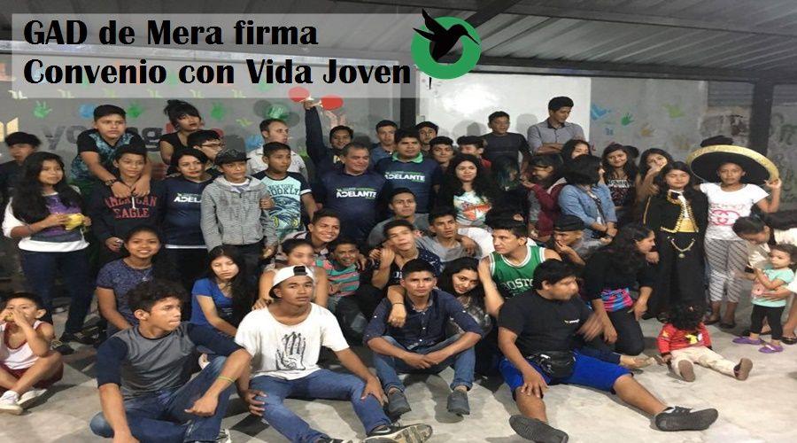 Firma de convenio entre el GAD de Mera y la Asociación Vida Joven