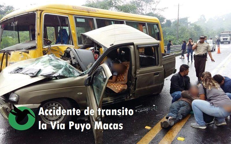 Fuerte accidente de tránsito en la vía a Macas