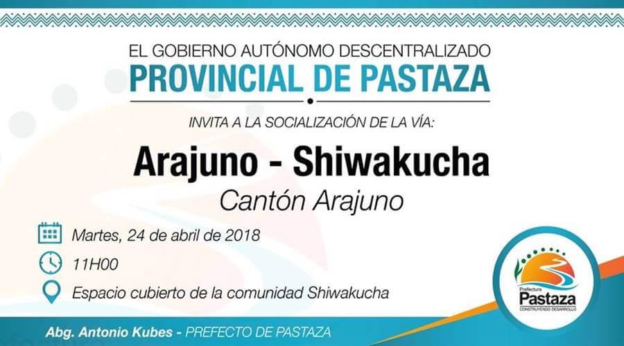 Socialización de la vía Arajumo-Shiwakucha
