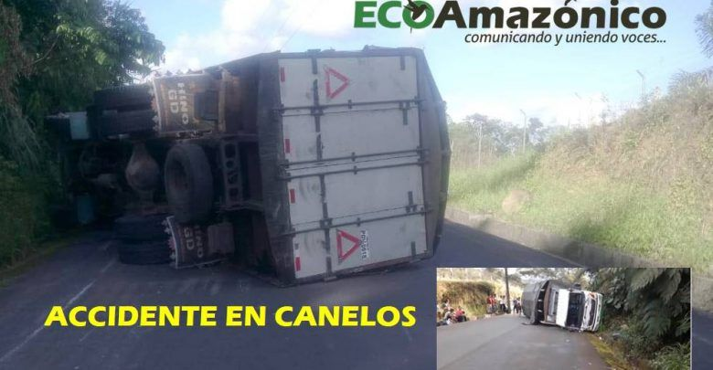 Camión se accidenta en Canelos