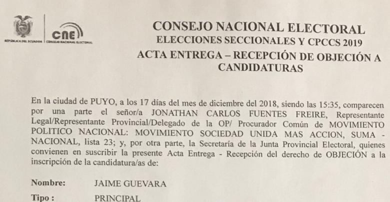 Objeciones a la candidatura de Jaime Guevara