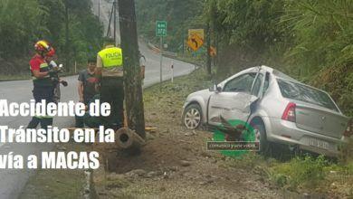 Accidente de tránsito en la vía a Macas