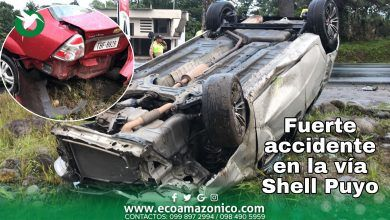 Accidente en la vía Puyo Shell