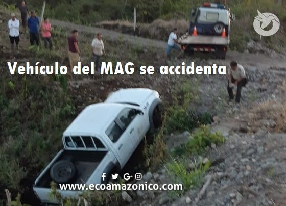 Se accidenta un vehículo del MAG en Palora