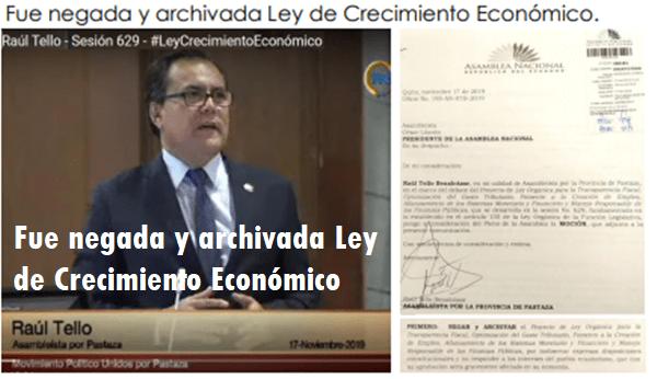 Fue negada y archivada Ley de Crecimiento Económico