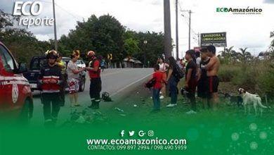 Accidente de moto en la via la Tena