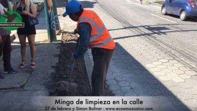 Minga de limpieza en las calles 27 de febrero y Simon Bolivar