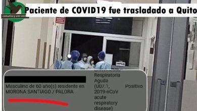 Paciente de dio + de COVID19 fue traslado a Quito