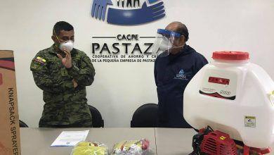 CACPE realiza la donación de una bomba para desinfección y mascarillas