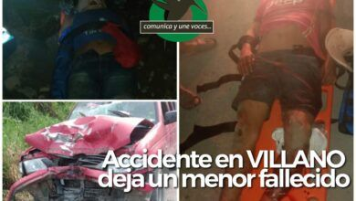 Accidente en Villano deja una menor fallecida y dos heridos
