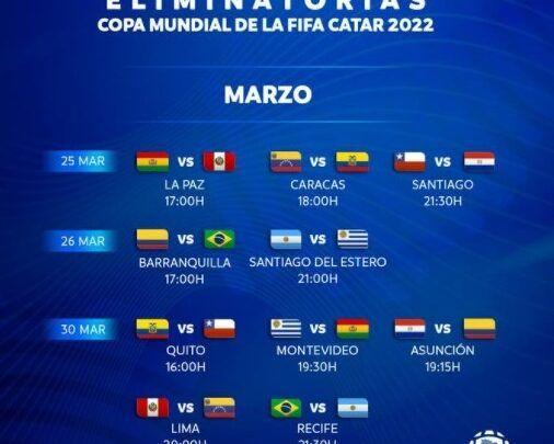 Conmebol oficializó fechas y horarios de las jornadas 5 y 6 de la eliminatoria al Mundial Catar 2022
